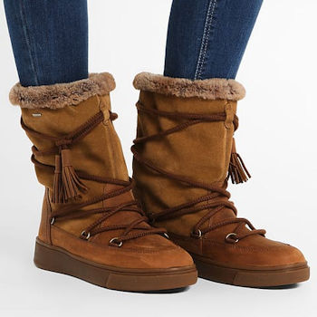 Bown snow boot with laces and tassels