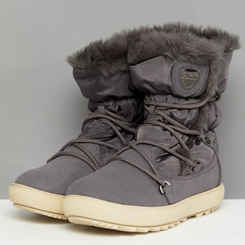 Grey ankle boot with faux fur trim and white soles
