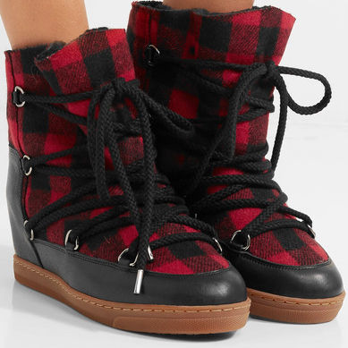 Red and black wool boot with laces