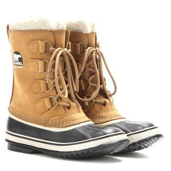 Classic Sorel winter snow boot design in brown