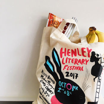 A cotton tote bag containing grocery shopping