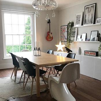 The dining room of interiors stylist Lisa Dawson