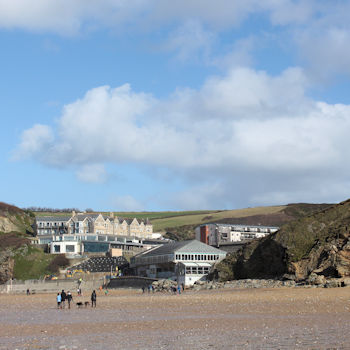 Watergate Bay Hotel pictures from the beach