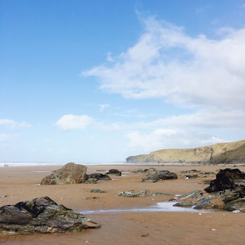 Watergate Bay Beach at low tide