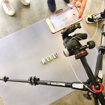 Smartphone, iphone and tripod, studying stop motion video with Xanthe Berkeley. At Push PR, London