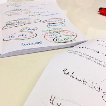 Notes on a page at a branding workshop. Do social media workshops work?