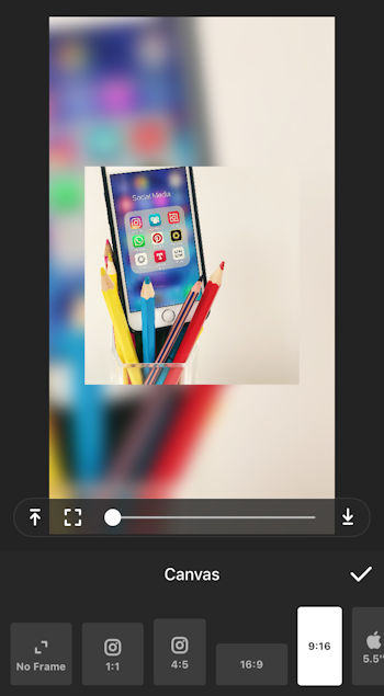 A screen shot of the InShot photo editing app on an iPhone
