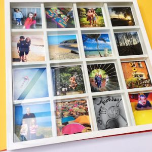 A photo frame containing square instagram-style photgraphs