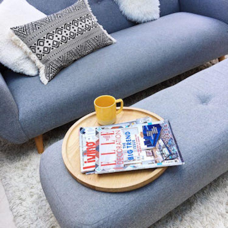 Grey Sofa Workshop sofa and footstool. Interiors post. Rug.