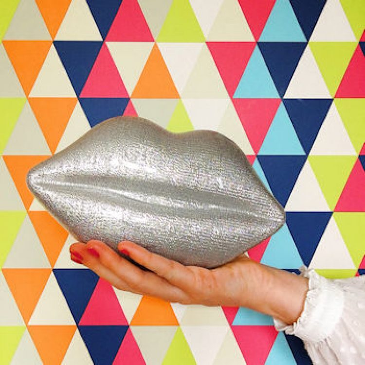 Lulu Guinness lips purse, a fortieth birthday present. Silver purse. Everyone should have a good bag to take them in to their forties.